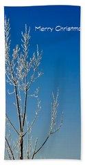 White Tree Christmas Card Beach Towel