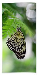 White Tree Nymph Butterfly 2 Beach Towel by Marie Hicks