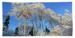 White Trees Clear Skies Beach Sheet