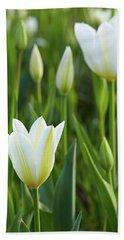 White Tulip Beach Towel