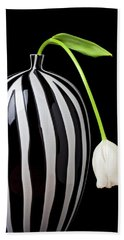 White Tulip In Striped Vase Beach Towel