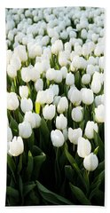 White Tulips In The Garden Beach Towel