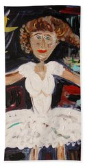Beach Sheet featuring the painting White Tutu by Mary Carol Williams