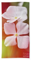 White Vinca With Vivid Highligts  Beach Towel
