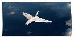 Beach Towel featuring the digital art White Vulcan B1 At Altitude by Gary Eason