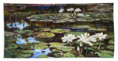 White Waterlilies In Tower Grove Park Beach Sheet by Irek Szelag