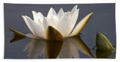 Beach Towel featuring the photograph White Waterlily 2 by Jouko Lehto