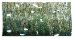 White Wild Flowers Landscape Beach Towel