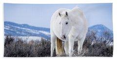 White Wild Horse Mystic Of Sand Wash Basin Beach Towel