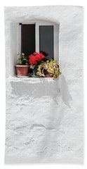 White Window Beach Towel