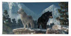 Beach Towel featuring the digital art White Wolf, Black Wolf by Daniel Eskridge