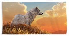 White Wolf Beach Towel by Daniel Eskridge