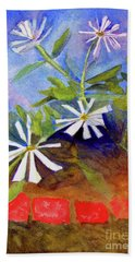 Beach Sheet featuring the painting White Zinnias by Sandy McIntire