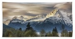 Whitehorse Sunrise, Flowing Clouds Beach Towel