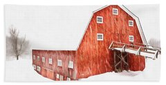 Beach Towel featuring the painting Whiteout On The Farm Blizzard Stella by Edward Fielding