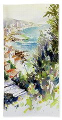Beach Sheet featuring the painting Whitewashed Vista by Rae Andrews