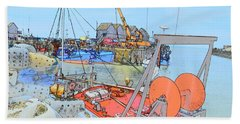 Whitstable Harbour 11 Beach Towel