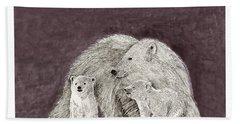 Beach Towel featuring the painting Polar Bear Family by Jack Pumphrey