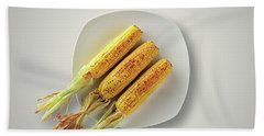 Whole Grilled Corn On A Plate Beach Towel