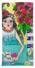 Beach Towel featuring the mixed media Why Limit Happy To A Hour by Rosemary Aubut