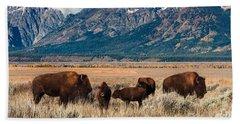 Wild Bison On The Open Range Beach Sheet