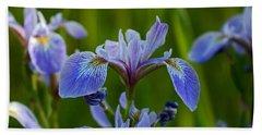 Wild Blue Iris Beach Towel