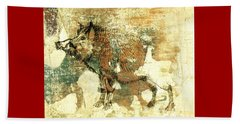 Wild Boar Cave Painting 1 Beach Sheet by Larry Campbell
