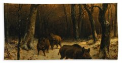 Wild Boars In The Snow Beach Towel