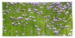 Wild Chives Beach Towel by Chevy Fleet