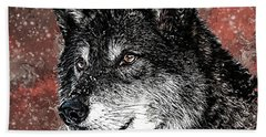Wild Dark Wolf Beach Towel