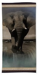 Wild Elephant Montage Beach Sheet