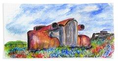 Wild Flower Junk Car Beach Towel by Clyde J Kell