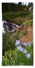 Wild Flowers And Waterfalls Beach Towel