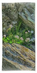 Wild Flowers Between The Rocks Beach Towel