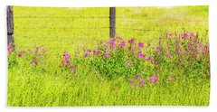 Wild Flowers  By The  Fence Beach Towel