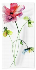 Wild Flowers Watercolor Illustration Beach Towel