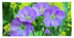 Wild Geranium Family Portrait Beach Sheet