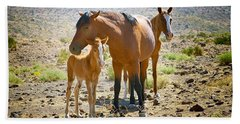 Wild Horse Family Beach Towel