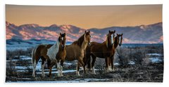 Beach Towel featuring the photograph Wild Horse Group by Bryan Carter