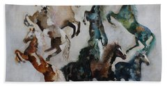 Beach Towel featuring the painting Wild Horses Are Coming by Barbie Batson