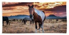 Wild Horses At Sunset Beach Towel