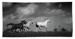 Wild Horses - Black And White Beach Sheet