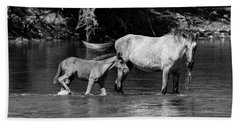 Wild Horses Black And White Beach Towel