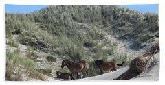 Wild Horses In The Noordhollandse Duinreservaat Beach Towel