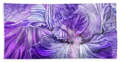 Beach Towel featuring the mixed media Wild Iris Purple by Carol Cavalaris