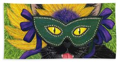 Wild Mardi Gras Cat Beach Towel