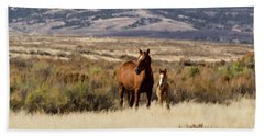 Wild Mare With Young Foal In Sand Wash Basin Beach Towel