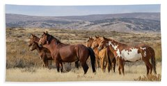 Wild Mustang Family Band In Sand Wash Basin Beach Towel