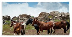 Wild Mustang Herd In The Springtime. Beach Towel