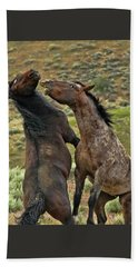 Wild Mustang Stallions Fighting Beach Towel